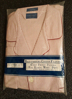 Vintage JC Penney Mens flannel Pjs XL red & white stripe Christmas  NOS,NWT, NEW