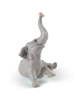 Lladro #8491 Baby Elephant With Pink Flower Brand Nib Love Save$ Free Shipping