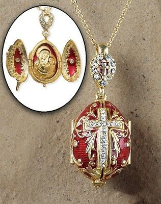 Madonna and Child Christ Icon Locket Cross RED Egg Pendant Silver Gold Tone GIFT