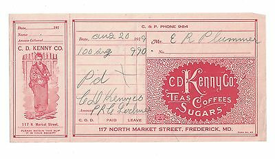 Advertisment Invoice C. D. Kenny Frederick Md., Md.
