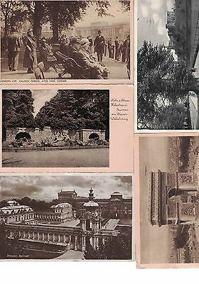 5 Mixed European B/w Postcards (Used With Stamps)