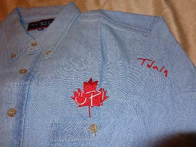 Shania Twain *Unworn XL Denim Shirt With Embroidered UP!/Canada Maple Leaf Logo!