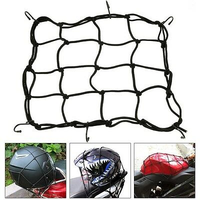 6-Hooks Black Motorcycle Motorbike Bike Cargo Luggage Bungee Cord Net 30x30cm