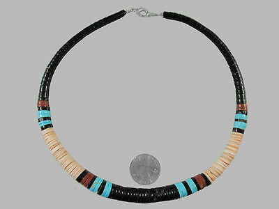 Mens Womens Native American Necklace Turquoise Jasper Jet  Santo Domingo 18""