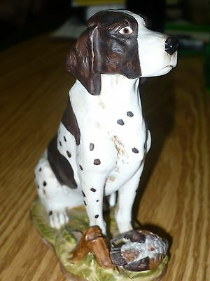 "Beautiful Vintage 1981 Dave Grossman Pointer Dog Figurine Japan Sticker 6"" Tall"