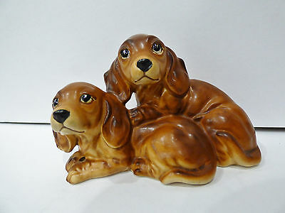 """Pair of Dachshund Puppies Figurine Made in Japan Nice Detail 3.25""""x5"""""""