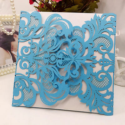 24pcs Turquoise Laser Cut Wedding Party Evening Invitation Cards Personalised