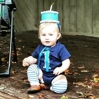 Birthday Boy One Year Old Onsie Blue Polka Dot Trumpette Cake Hat Candle 12-18Mo
