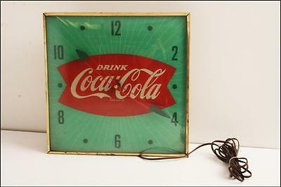 Vintage COCA COLA PAM CLOCK display advertising fishtail logo lighted sign 50s