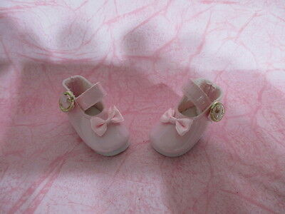 "1-3/4"" Pink Mary Jane Doll Shoes Gold Buckle Ribbon Bow * Ooak Baby Reborn Dolls"