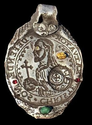 Make Offer! Crusader Templar Style Christ Silver Jesus pendant Gold Diamond Ruby