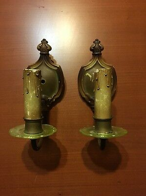 Vtg Pair Art Deco Lightoliers Electric Wall Sconce Lamps Vaseline Glass Accents