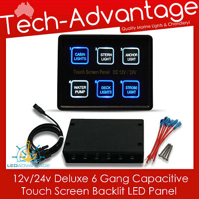 12V/24V 6 Gang Backlit Slim Touch Pad Control Boat/caravan/marine Switch Panel