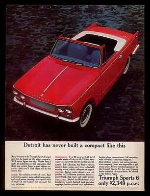 1963 Triumph Sports Six convertible red car photo vintage print ad