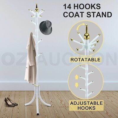 14 Hooks Tree style Metal Coat Rack Stand Hat Bag Clothes Umbrella White