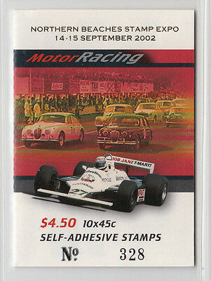 "2002 Motor Racing Stamp Booklet Optd: Northern Beaches Expo""S/Pfeffer B243 a (2)"