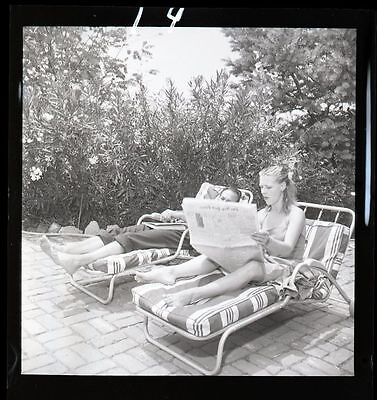1950s PHYLLIS HILL & JOSE FERRER Sunbathing Original Photo Negative gp