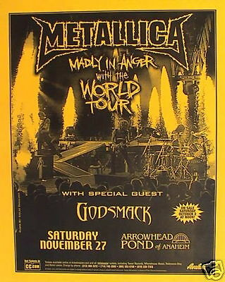 """Metallica /godsmack """"madly In Anger With World Tour"""" 2004 Anaheim Concert Poster"""