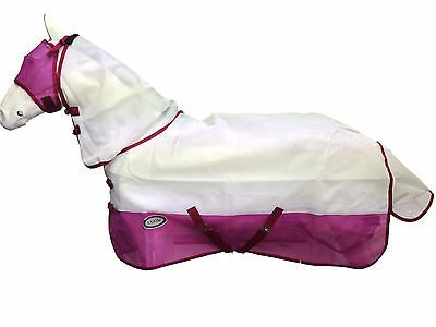 Axiom White/pink Strong Mesh Flysheet Horse Combo - 6' 6 (Free Flymask)