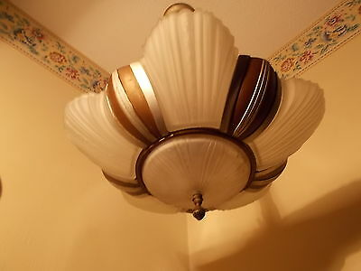 Antique MODERN style Glass Slip Shade Art Deco 6 Shade Fixture Chandelier