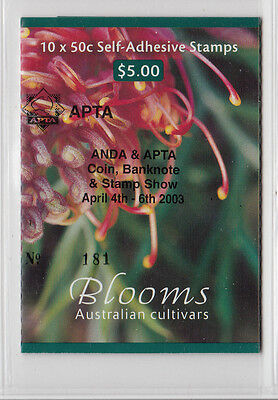 "2003 $5.00 Blooms Stamp Booklet Optd:Apta Stamp Show"" S/Pfeffer B253 a (2)"