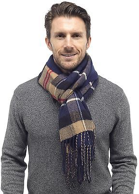 Tom Franks Mens Reversible Checked Scarf with Tassels Blue