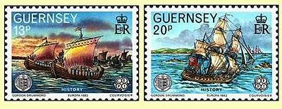 # GUERNSEY - 1982 - CEPT EUROPA - History Ships Boats - 2 Stamps Set MNH