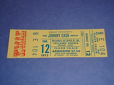 Johnny Cash 1973 Unused Concert Ticket Selland Arena Fresno Ca Usa, Man In Black