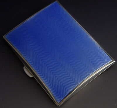 Quality Sterling Silver And Blue Guilloche Enamel Cigarette Case 1930 Antique