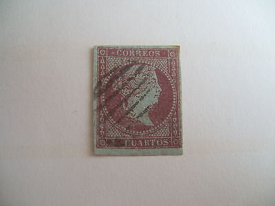 Old Spanish Isabella  Stamp , Fine Used - Blue Paper