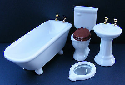 1:12 Scale 4 Piece Ceramic Bathroom Set Dolls House Miniature Accessory DF100