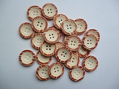30 New cream & pink 4 hole buttons