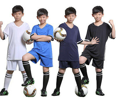 New Football Soccer Short Sleeve Suit Kid Boy Jersey Uniforms Youth 15-16Y