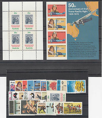 1978 year collection.24 stamps plus 2 x miniature sheets. MNH and cheap