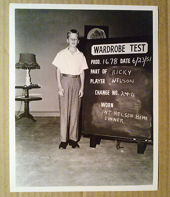 8x10 Photo~ Ozzie & Harriet Show ~Ricky Nelson ~Wardrobe Test shot 1951