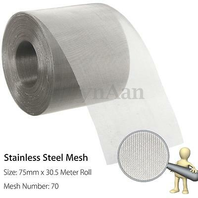75mm x 30.5m Roll 70 Mesh Stainless Steel Insect Screen Vent Filter Woven Wire