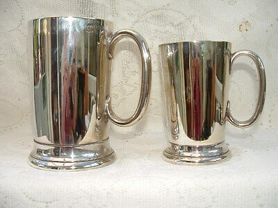 Interesting Vintage/Antique Silver Plated Tankards x 2 - Monogrammed