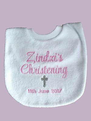 Personalised Baby Bib Embroidered GIFT Baptism Christening  Name Day  Any name