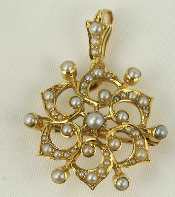 Delightful Victorian 15Ct Gold Natural Seed Pearl Brooch / Pendant Circa 1880