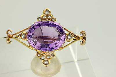 Superb Quality Large Antique Victorian 18Ct Gold Amethyst & Seed Pearl Brooch