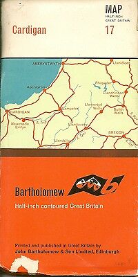 Bartholomews half-inch Map No.17 CARDIGAN - CLOTH -1966
