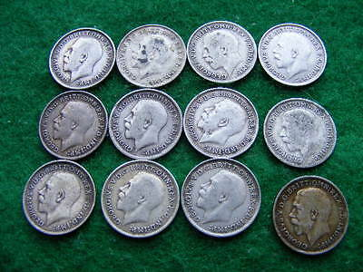Lot of 12 Pre 1920 Silver Threepences mixed dates & condition as pictured