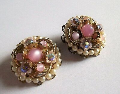 Vintage 1950S Gold Tone Faux Pearl Pink Bead Ab Crystal Flower Clip On Earrings