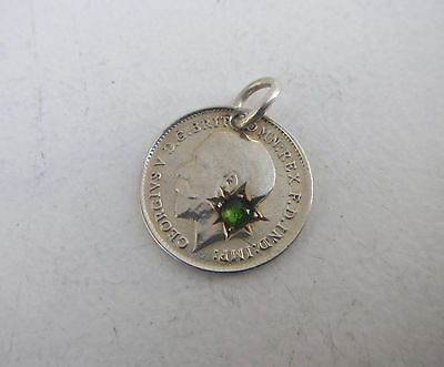 Old George V Threepence Coin 1911 Pendant with Inlaid Green Stone