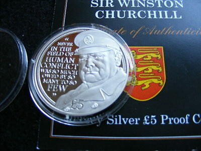 JERSEY Silver Proof £5 Pounds 2014 WINSTON CHURCHILL + numbered COA