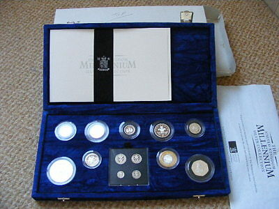 2000 UK ROYAL MINT MILLENNIUM MAUNDY to £5 SILVER PROOF 13 COIN SET