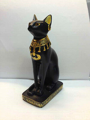 Egyptian Baster Cat Statue. Ancient Egypt Goddess Bast Collectible Figurine. New