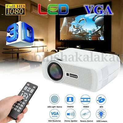 Full HD 1080P 3D Projector 1200 lumens Home Theater Cinema LED HDMI AV TV VGA