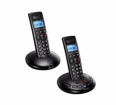BT Graphite 2500 Expandable Cordless Phone Twin Handsets in Black - Brand New