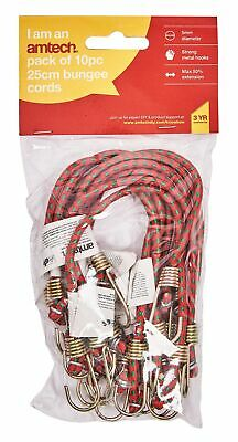 "New 10Pc 10"" Mini Bungee Cords Elastic Stretch Hook Luggage Car Bike Camping"